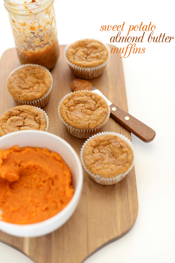 Cutting board with a batch of our Sweet Potato Almond Butter Snack Muffins