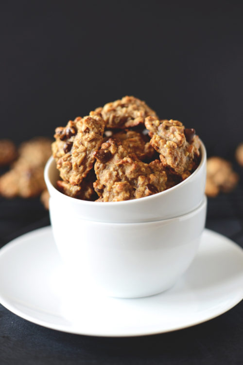 Bowl of healthy chocolate chip cookies for a gluten-free vegan breakfast treat