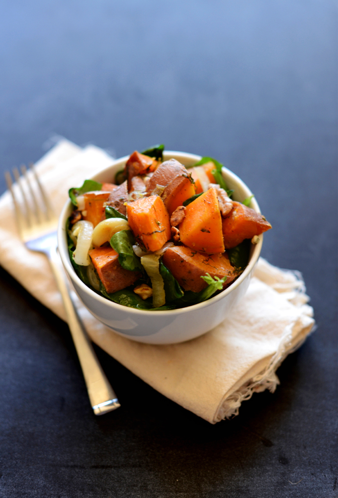 Bowl of Warm Sweet Potato Dill Spinach Salad