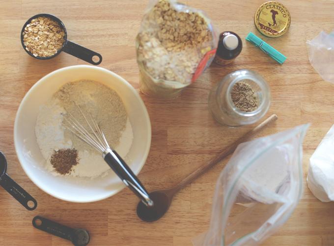 Making homemade waffle mix for gluten-free vegan waffles