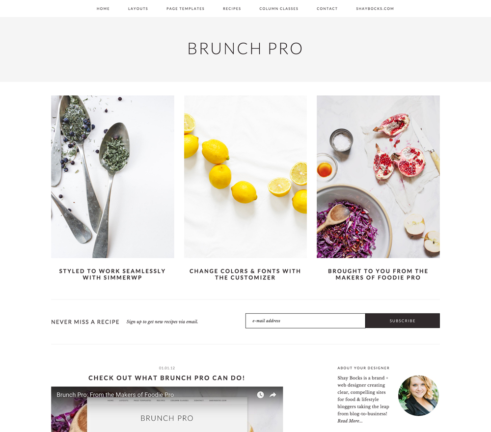 Brunch Pro WordPress Theme that's great for food bloggers