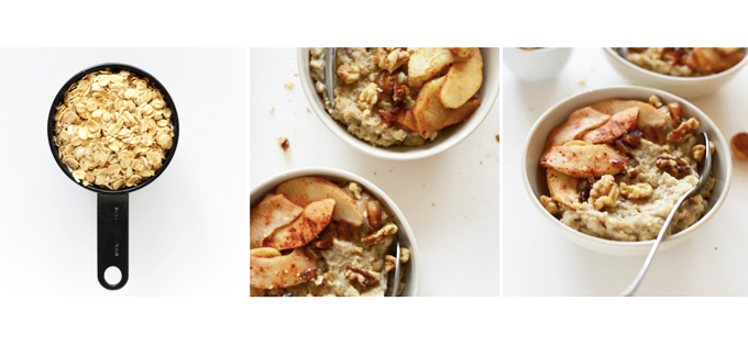 Bowls of our Apple Pie Oatmeal for a vegan gluten-free breakfast