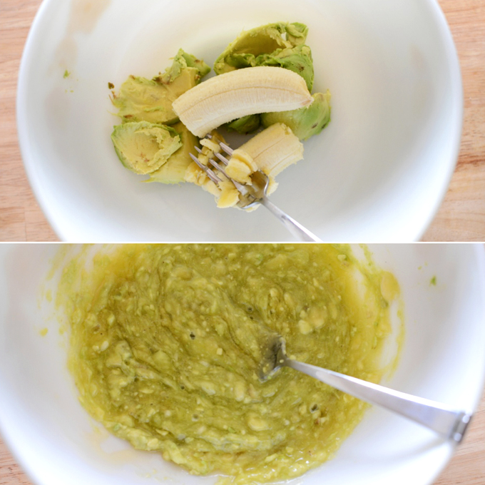 Mashing avocado and banana to make healthy homemade chocolate cake