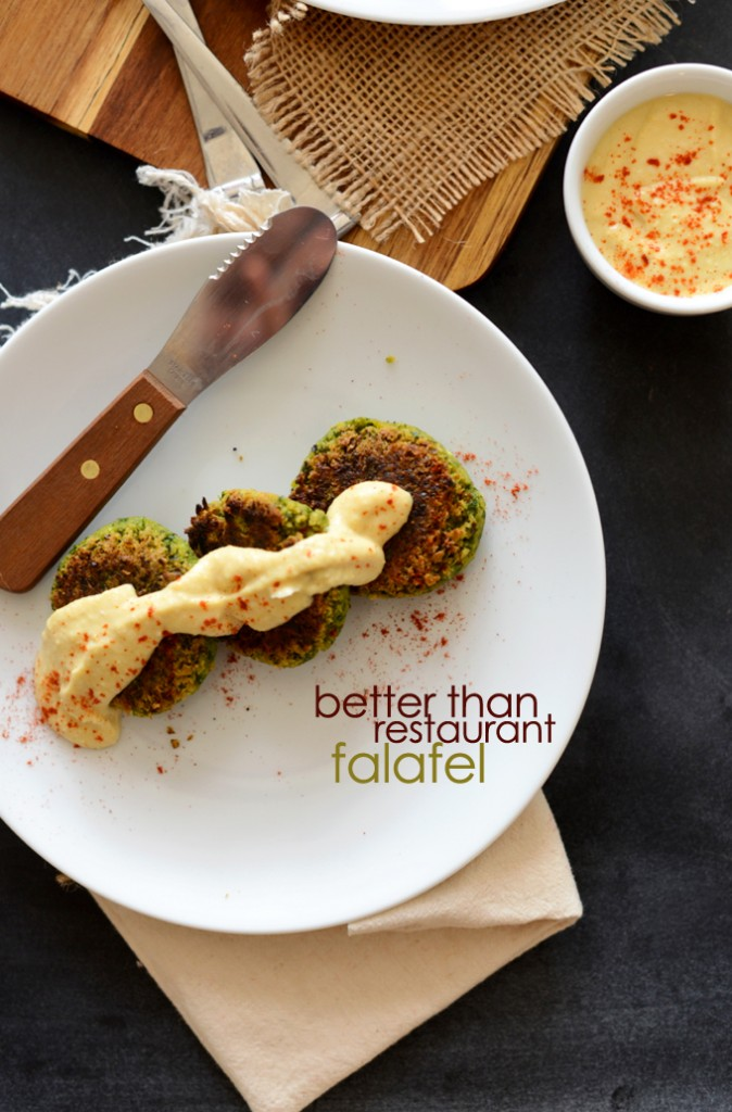 Plate of homemade Better Than Restaurant Falafel topped with hummus and paprika