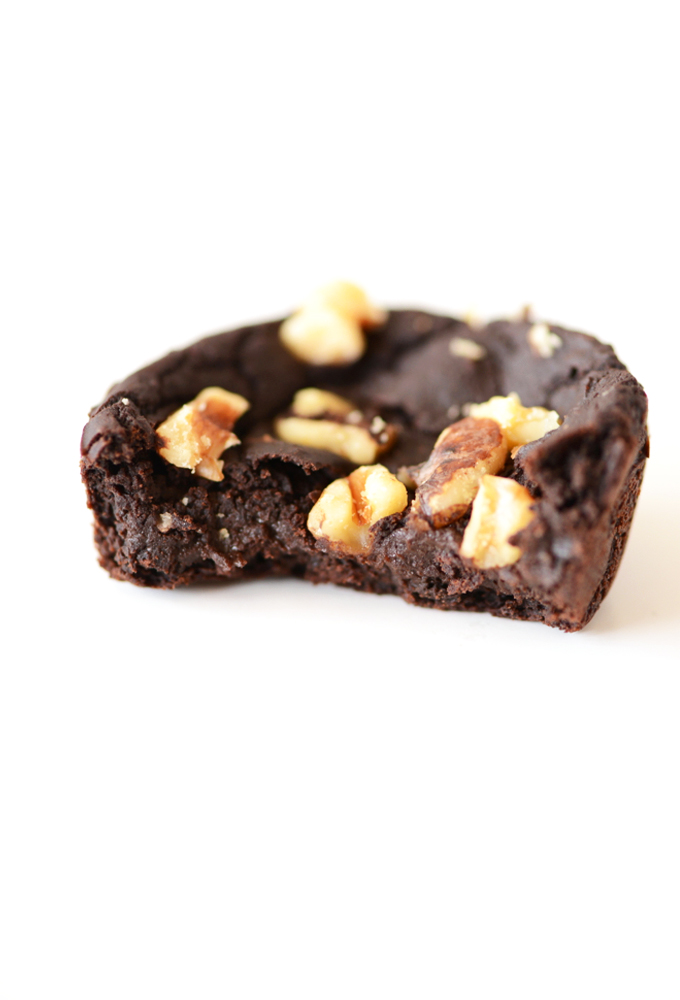 Showing the fudgy texture of the inside of one of our Black Bean Brownies
