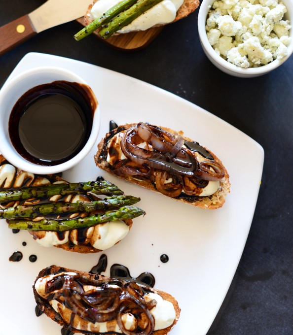 Plate of Bleu Cheese Balsamic Bites for a simple appetizer