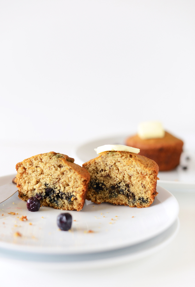 Showing the inside of one of our gluten-free vegan Blueberry Muffins for Two