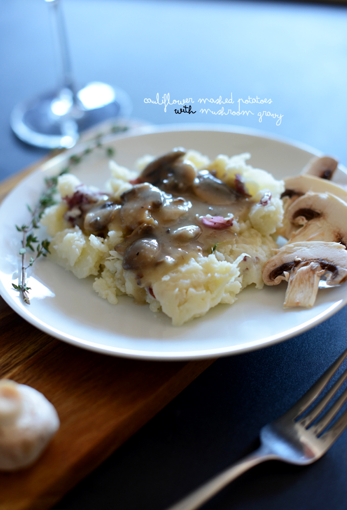Plate of Cauliflower Mashed Potatoes with Mushroom Gravy for a delicious vegan meal