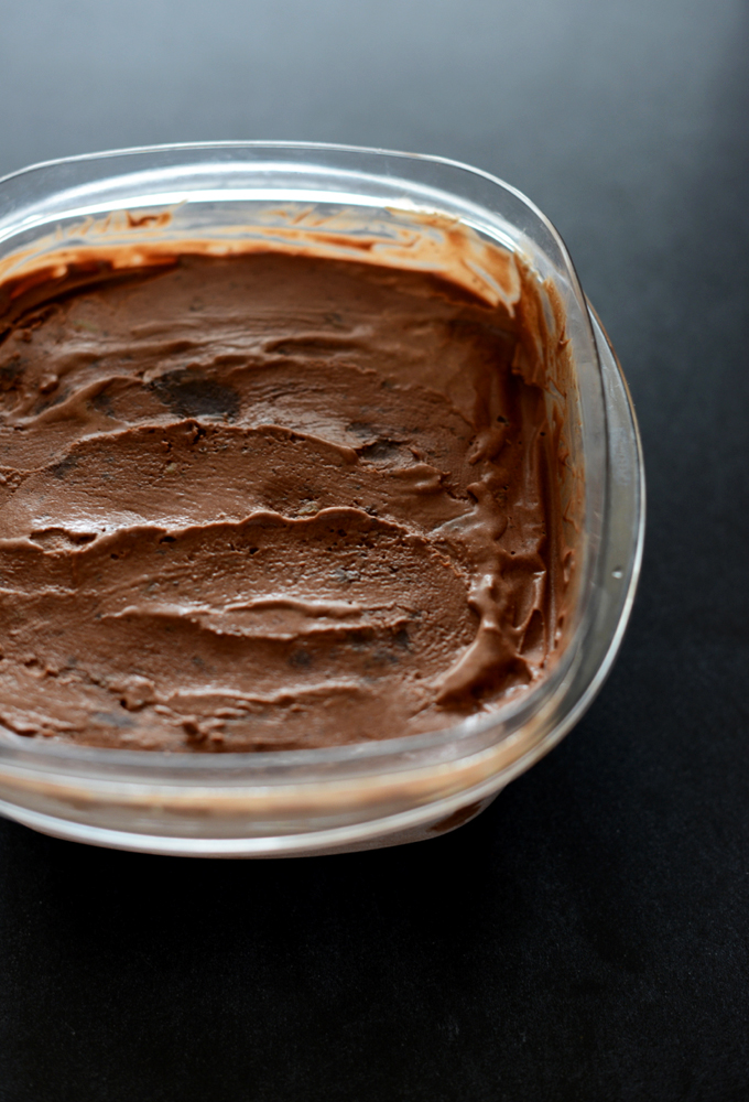 Tub of homemade Chocolate Ice Cream with Brownies