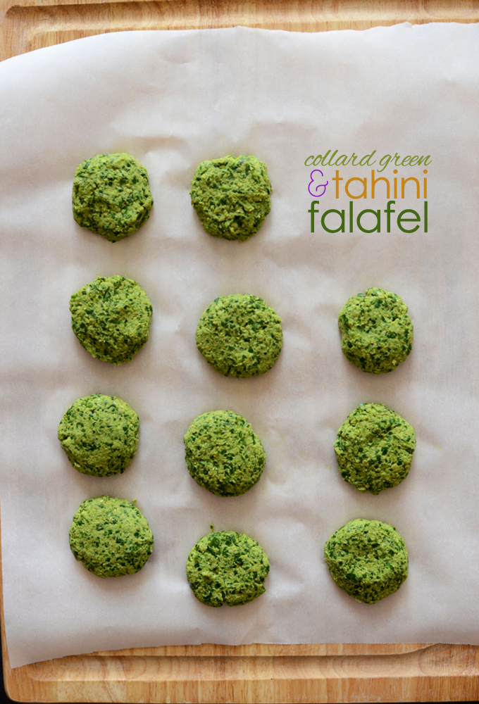 Parchment-lined cutting board filled with a batch of our Collard Green Tahini Falafel recipe