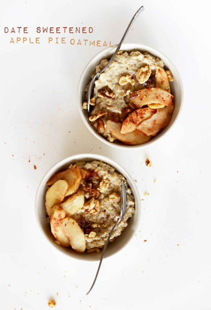 Two bowls of Date-Sweetened Apple Pie Oatmeal
