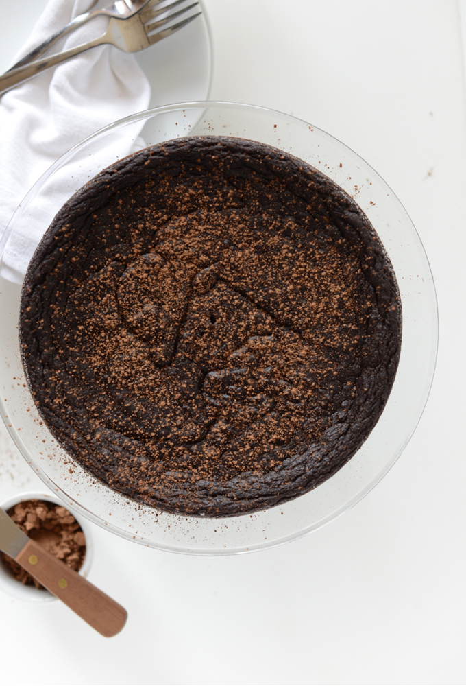Fudgy Chocolate Pie Cake on a serving platter