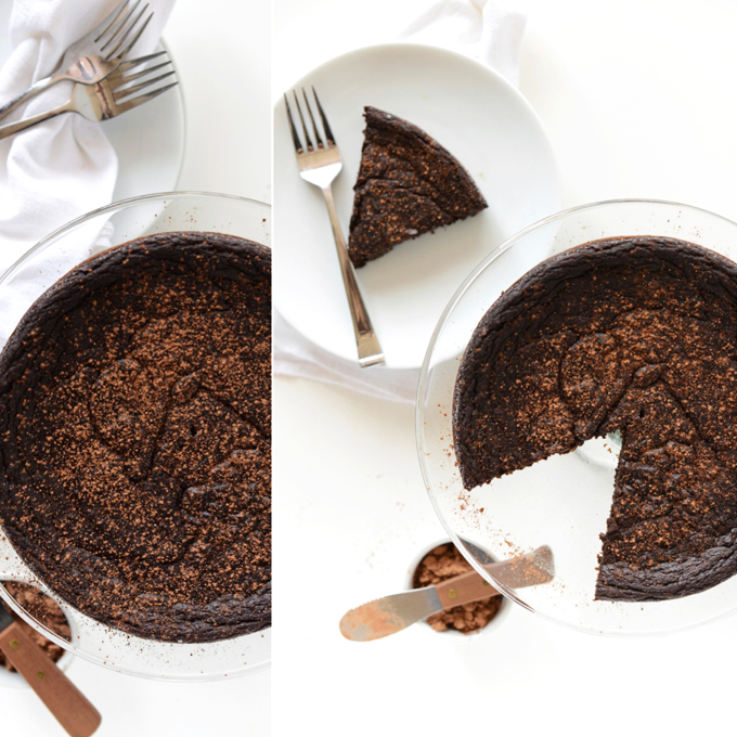 Plate and platter of our Fudgy Vegan Chocolate Cake recipe