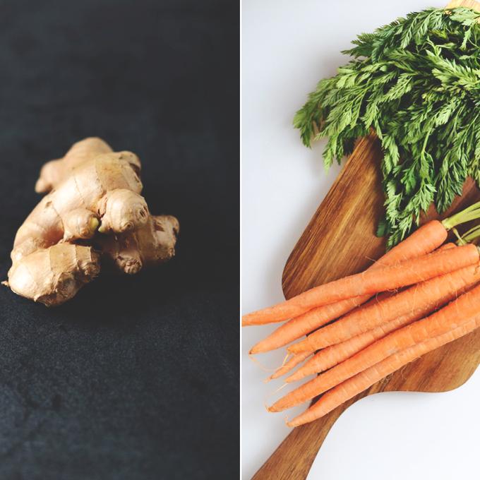 Fresh carrots and ginger for making homemade vegetable juice