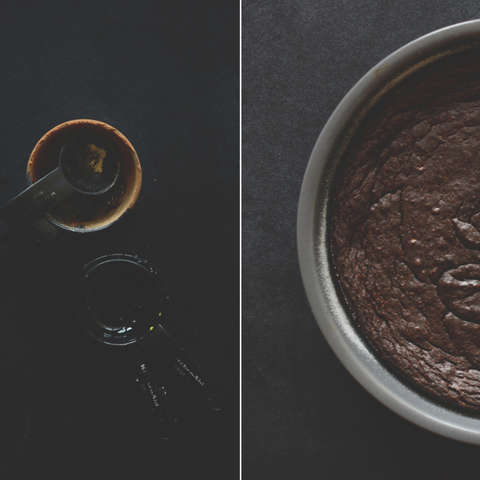 Empty measuring spoons and pan of homemade Gluten-Free Chocolate Cake