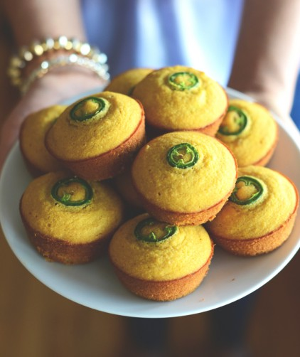Plate of our Gluten-Free Jalapeno Cornbread Muffins recipe