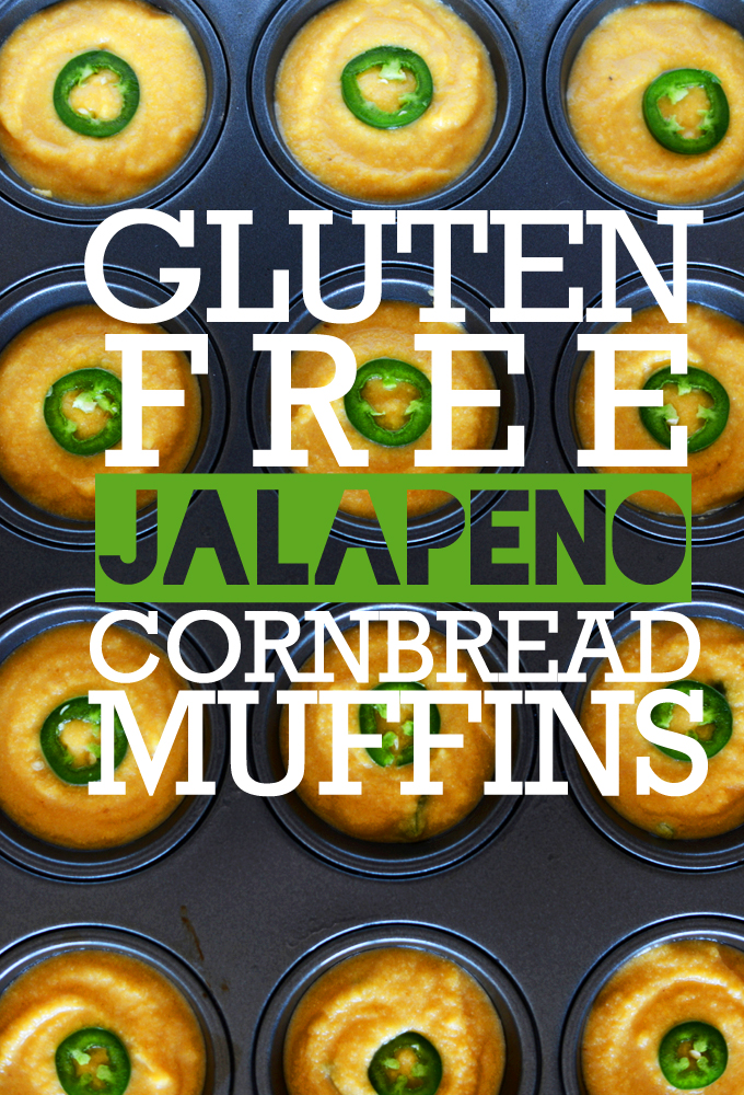 Muffin tin filled with Gluten-Free Jalapeno Cornbread Muffins