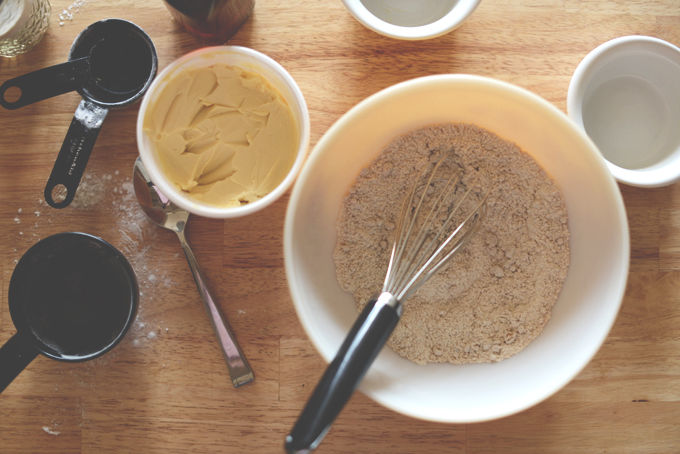 Stirring together dry ingredients for a batch of our Gluten-Free Vegan Blueberry Muffins