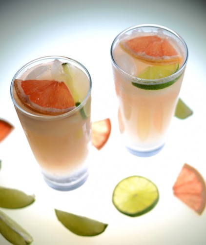 Glasses of Grapefruit Lime Spritzers for a refreshing cocktail