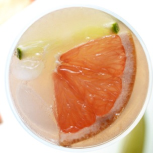 Top down shot of a homemade Grapefruit Lime Spritzer