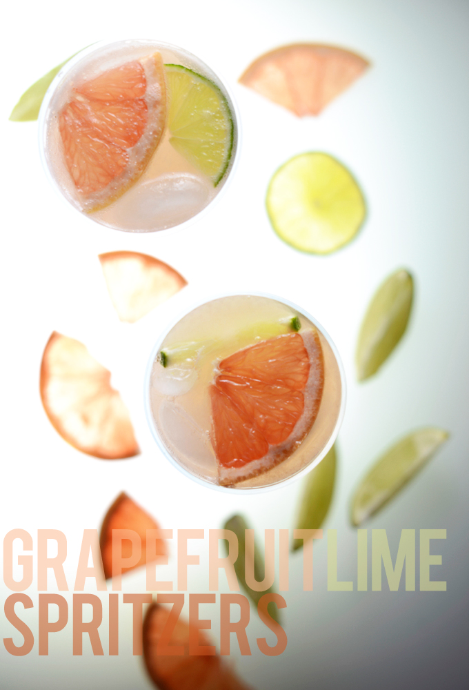 Glasses of simple Grapefruit Lime Spritzers for a delicious homemade cocktail