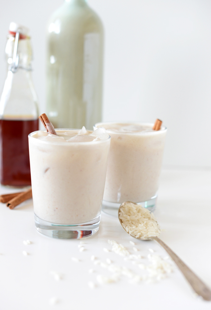 Glasses of Healthy Horchata sweetened with dates