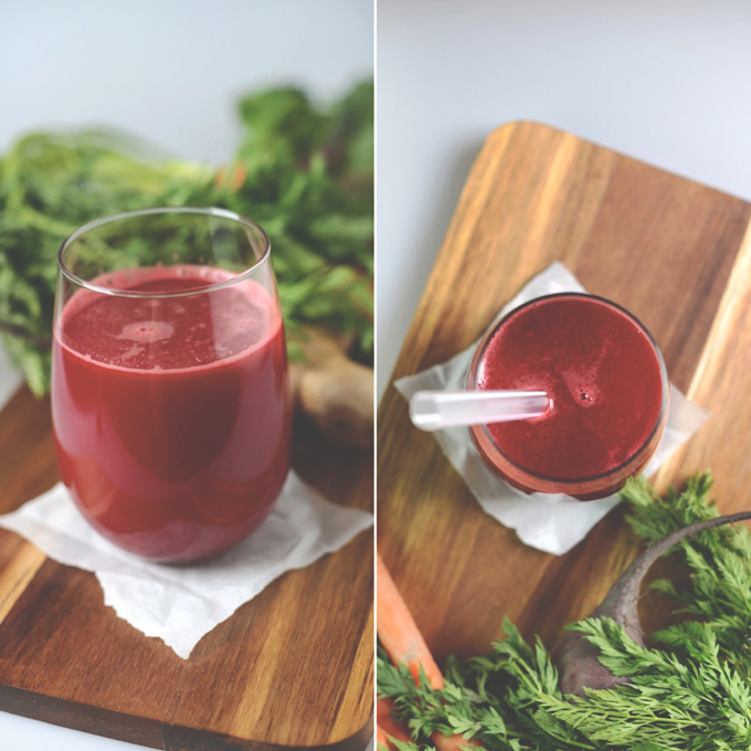 Glass of fresh homemade beet and carrot juice