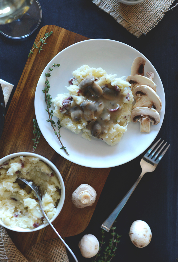 Plate of Mashed Cauliflower Potatoes with Simple Mushroom Gravy for Thanksgiving