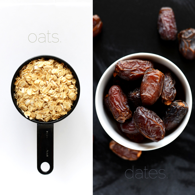 Oats and dates for making a delicious apple oatmeal recipe
