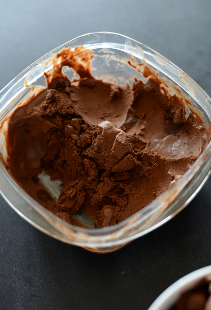 Tub of homemade Vegan Chocolate Ice Cream