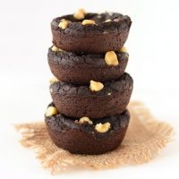 Stack of 4 Vegan Gluten-Free Black Bean Brownies made with walnuts