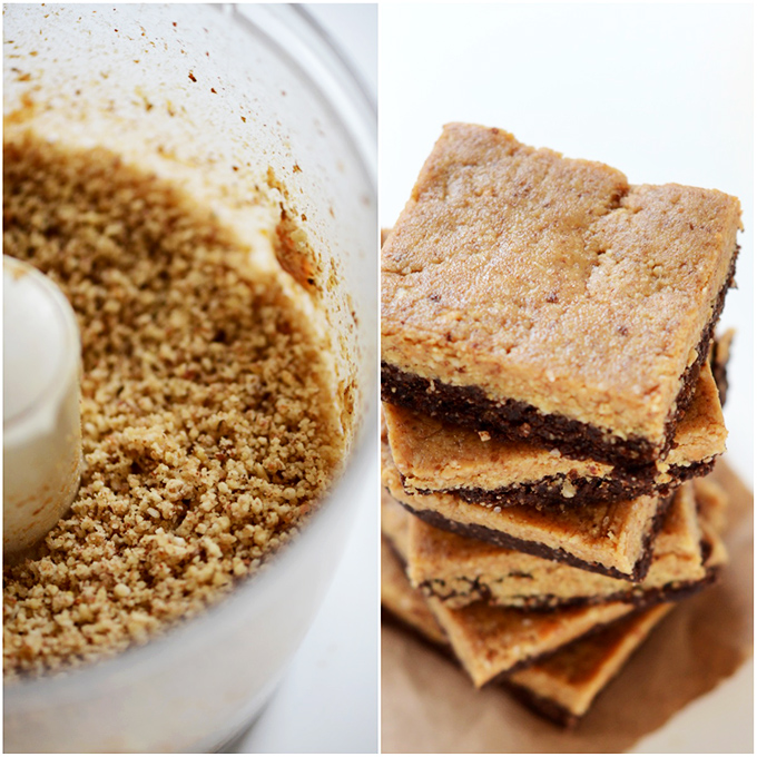 Food processor of peanut butter batter and stack of Peanut Butter Brownie Bars