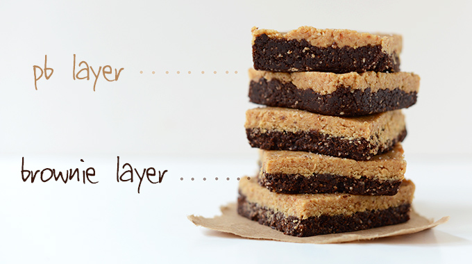 Showing the distinct peanut butter and brownie layers of our PB Brownie Bars