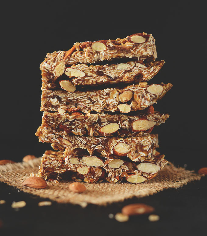 Stack of homemade Granola Bars for delicious gluten-free vegan snacks
