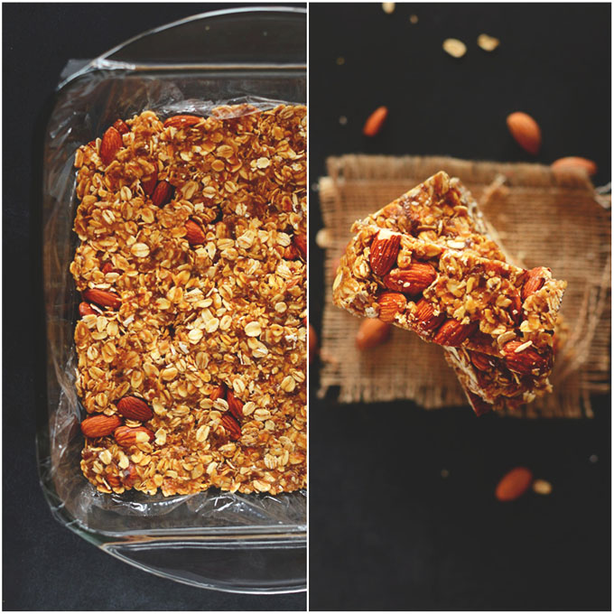 Baking pan and stack of simple healthy homemade granola bars