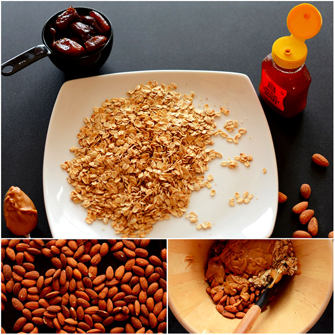 Oats, almonds, and peanut butter for making healthy granola bars