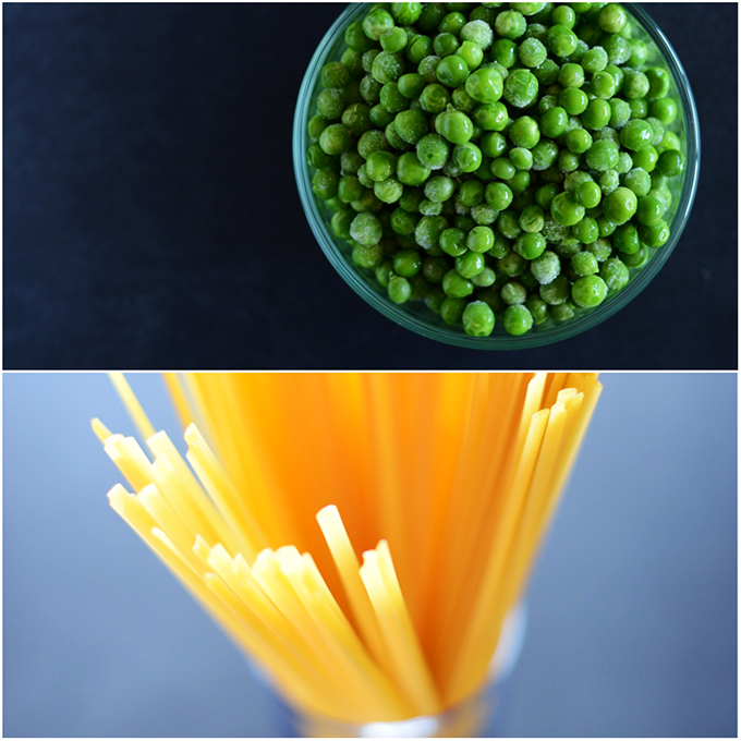 Green peas and spaghetti noodles for making Alfredo Pasta with Peas