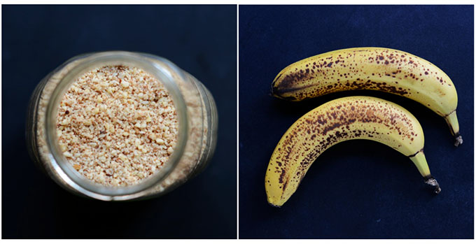 Almond meal and bananas for making muffins