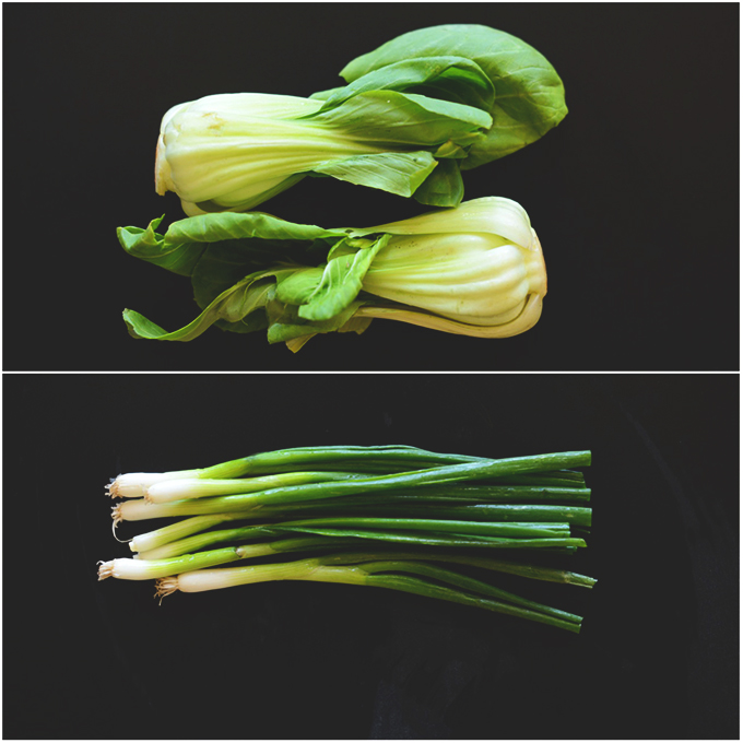 Baby bok choy and green onions for making Thai Sweet Potato Stacks