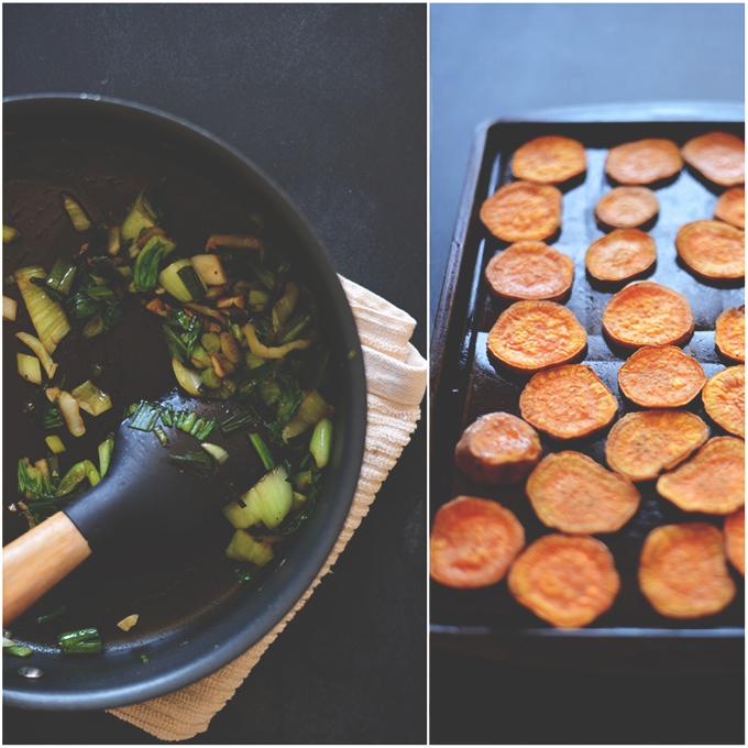 Cooking baby bok choy in a skillet and sweet potatoes on a baking pan