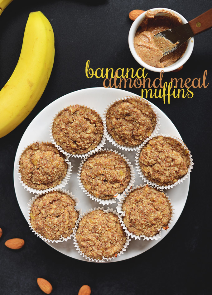 Plate of Banana Almond Meal Muffins