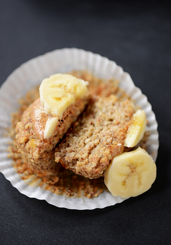 Showing the texture of the inside of a Banana Almond Meal Muffin