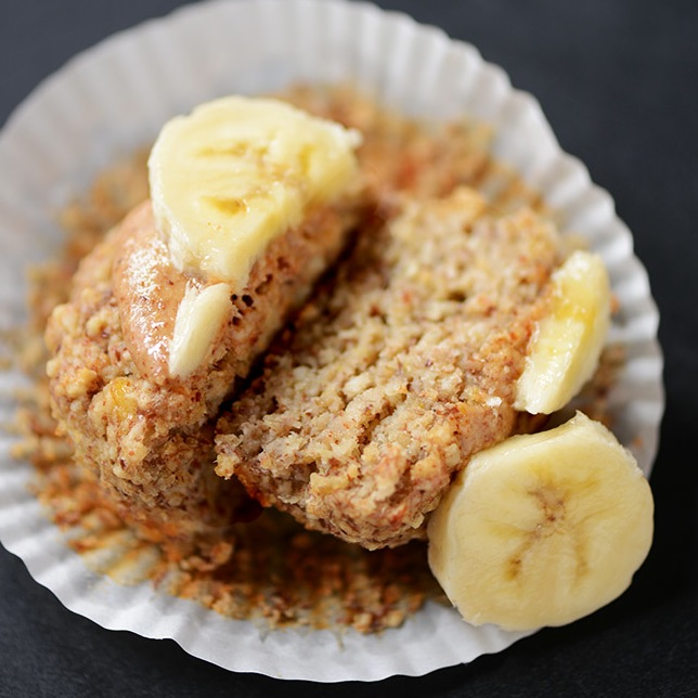 Gluten-Free Vegan Banana Almond Meal Muffin cut in half