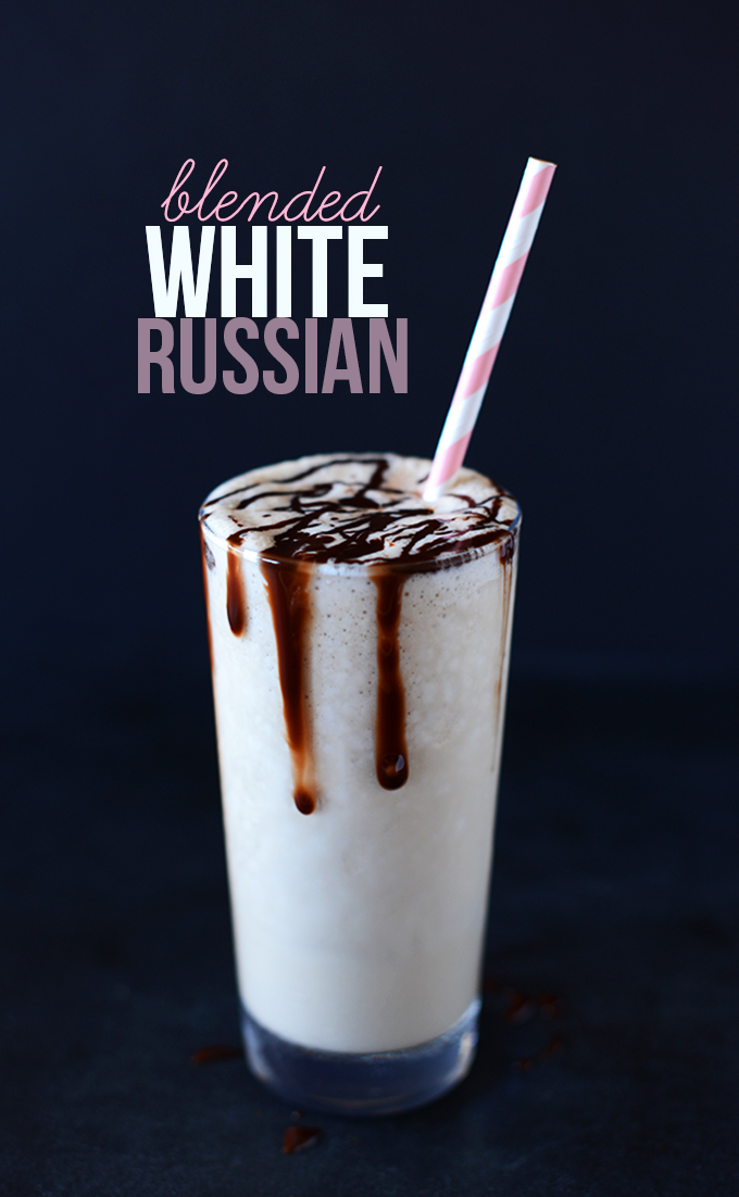 Tall glass filled with a batch of our Blended White Russian recipe