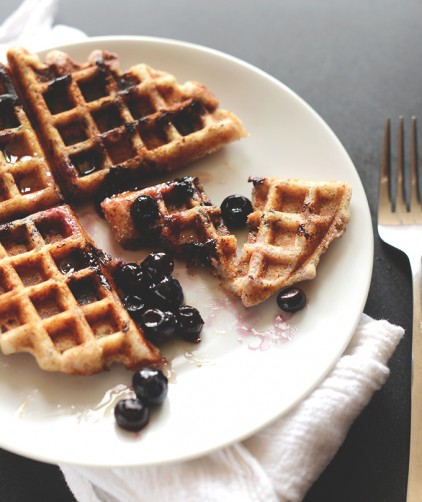 Lemon Blueberry Waffle on a plate for a delicious gluten-free vegan breakfast