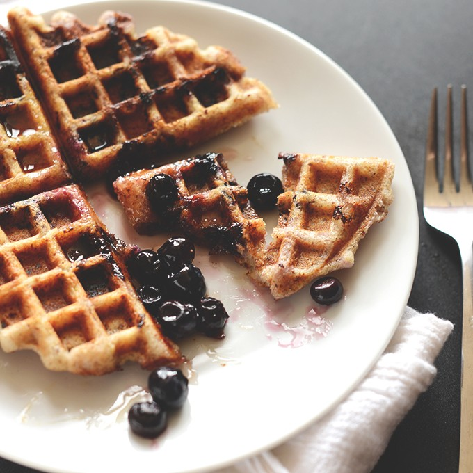 Lemon Blueberry Waffles {Vegan + Gluten-Free}