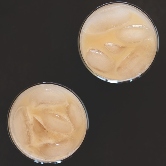 Top down shot of two glasses of Boozy Rum Horchata