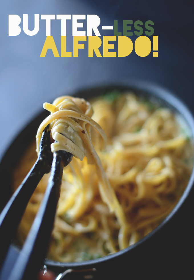 Holding up a bite of Butter-Less Alfredo sauce on noodles