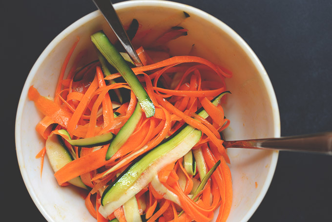 Bowl of Carrot and Zucchini Noodles made with a vegetable peeler
