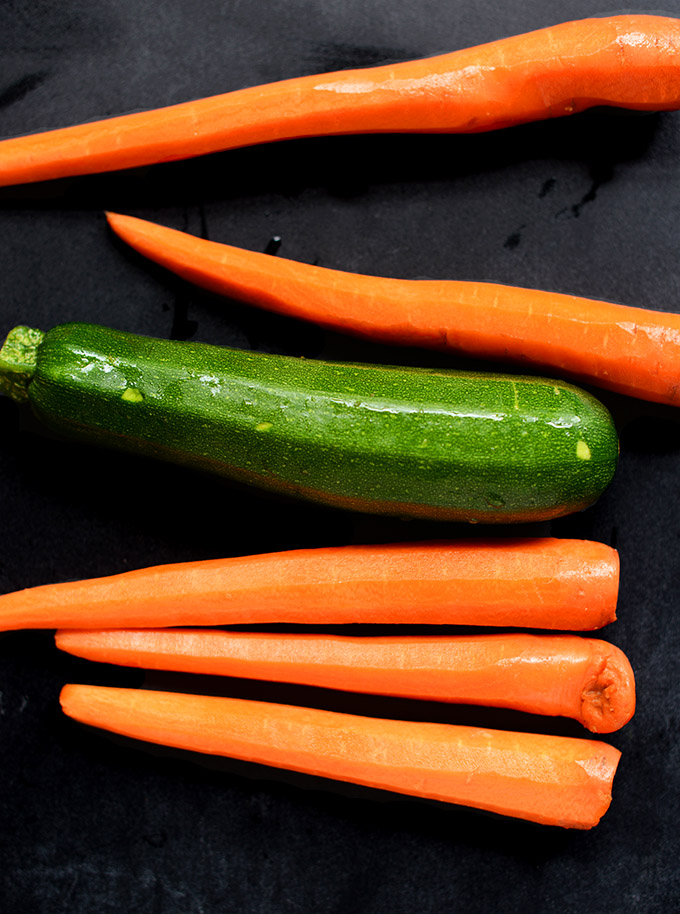 Fresh carrots and zucchini for making vegetable noodles